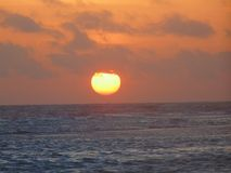Zmierzch w supi plaży, Coro, jastrząbek fotografia stock