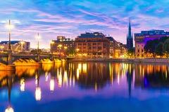 Zmierzch w Sztokholm, Szwecja Fotografia Stock