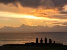 Zmierzch w Wielkanocnej wyspie Obraz Stock