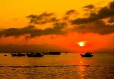 Zmierzch w wiosce rybackiej zdjęcie royalty free