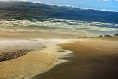 Zmierzch w Zewnętrznej bank plaży obrazy royalty free