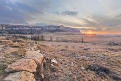 Zmierzch w zima krajobrazie Zdjęcie Royalty Free
