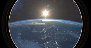 Zmierzch widzieć od ISS ilustracja wektor