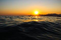 Zmierzch, wieczór, krajobraz, półmrok, krajobraz, Crimea czarny morze morze Zdjęcia Stock