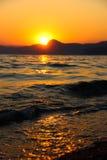 Zmierzch, wieczór, krajobraz, półmrok, krajobraz, Crimea czarny morze morze Fotografia Royalty Free