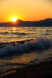 Zmierzch, wieczór, krajobraz, półmrok, krajobraz, Crimea czarny morze morze Zdjęcia Royalty Free