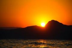 Zmierzch, wieczór, krajobraz, półmrok, krajobraz, Crimea czarny morze morze Obraz Stock