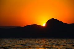 Zmierzch, wieczór, krajobraz, półmrok, krajobraz, Crimea czarny morze morze Fotografia Stock