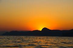 Zmierzch, wieczór, krajobraz, półmrok, krajobraz, Crimea czarny morze morze Zdjęcie Stock