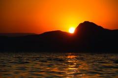 Zmierzch, wieczór, krajobraz, półmrok, krajobraz, Crimea czarny morze morze Zdjęcie Royalty Free