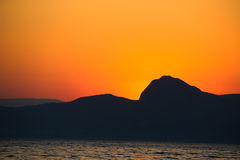 Zmierzch, wieczór, krajobraz, półmrok, krajobraz, Crimea czarny morze morze Obraz Royalty Free