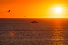 Zmierzch z łodzi i ptaków sylwetkami Zdjęcie Royalty Free