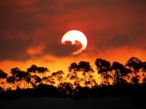 Zmierzch z pomarańczowym niebem Zdjęcie Stock
