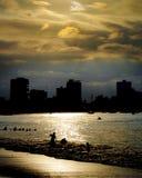 Zmierzchu Backlight scena przy Salinas plażą, Ekwador Obrazy Royalty Free