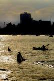 Zmierzchu Backlight scena przy Salinas plażą, Ekwador Fotografia Stock