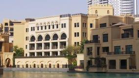 Zmierzchu Dubai centrum handlowego fountsin hotelu lekki przód 4k uae zbiory wideo