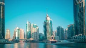 Zmierzchu Dubai marina zatoki 4k czasu upływ zbiory wideo