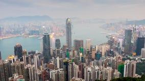 Zmierzchu Hong kong widoku mroczny punkt szczytowa panoramy 4k czasu upływu porcelana zbiory