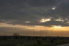Zmierzchu krajobraz przy Dobrudzha regionem blisko Kaliakra przylądka przy Czarnym Dennym wybrzeżem, Dobrich region, Bułgaria zdjęcia stock