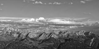 Zmierzchu Lechquellengebirge góry od Furkajoch, Austria zdjęcie royalty free