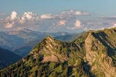 Zmierzchu Lechquellengebirge góry od Furkajoch, Austria obrazy royalty free