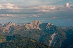 Zmierzchu Lechquellengebirge góry od Furkajoch, Austria fotografia stock