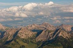 Zmierzchu Lechquellengebirge góry od Furkajoch, Austria zdjęcie stock