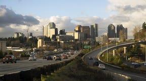Zmierzchu miasta architektury krajobraz Bellevue Obraz Royalty Free