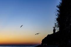 Zmierzchu niebo nad latarnią morską Obraz Royalty Free
