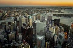 Zmierzchu Nowy Jork śródmieścia widok z lotu ptaka zdjęcie royalty free
