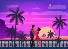Zmierzchu ocean, morze, drzewka palmowe, góry, bulwar położenia słońce, seascape Spotykać pary w miłości, romans, miłość royalty ilustracja