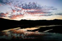 Zmierzchu półmrok przy jeziornym odbiciem obrazy royalty free
