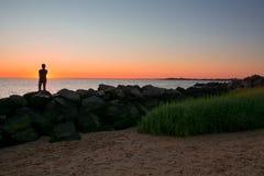 Zmierzchu Raritan zatoki plaża Zdjęcia Stock