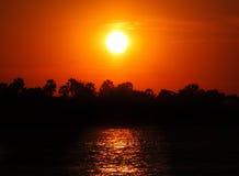 Zmierzchu rejs nad Zambezi Obrazy Stock