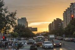 Zmierzchu ruch drogowy w Beijing Obraz Stock
