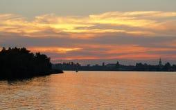 Zmierzchu rzeczny horyzont na rzece w Ukraina fotografia royalty free