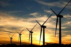 zmierzchu turbina wiatr Zdjęcia Royalty Free