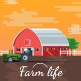 Zmierzchu wektoru gospodarstwa rolnego domu ilustraci tło Zdjęcie Stock