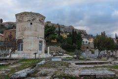 Zmierzchu widok Romańska agora w Ateny, Grecja Zdjęcie Stock