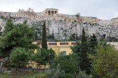 Zmierzchu widok Romańska agora w Ateny, Grecja Obrazy Stock