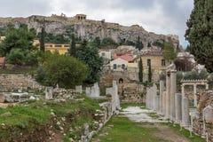 Zmierzchu widok Romańska agora w Ateny, Grecja Fotografia Royalty Free