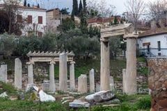 Zmierzchu widok Romańska agora w Ateny, Grecja Obraz Royalty Free