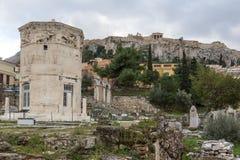 Zmierzchu widok Romańska agora w Ateny, Grecja Obrazy Royalty Free