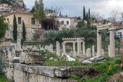 Zmierzchu widok Romańska agora w Ateny, Grecja Zdjęcia Stock