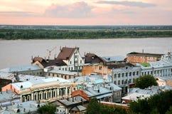 Zmierzchu widok stara część Nizhny Novgorod Fotografia Royalty Free