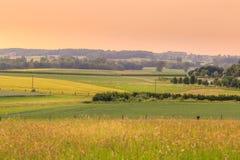 Zmierzchu wiejski krajobraz zdjęcia royalty free