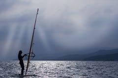 zmierzchu windsurfer zdjęcie stock