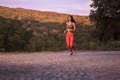 Zmierzchu wschód słońca, drewniani drzewa, biega jogging, jeden młody dorosły wom obraz stock