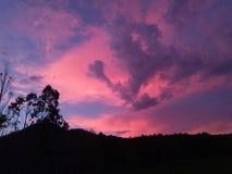 Zmierzchu wschód słońca niebo z górą i drzewem zdjęcia stock