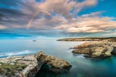 Zmierzchy w morzu plaże i wybrzeża Galicia i Asturias fotografia royalty free